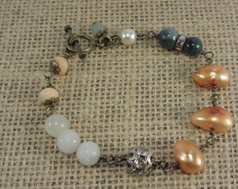 Multi gemstone, pearl, and vintage bead bracelet
