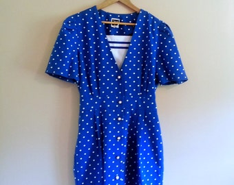PREVIOUSLY 38.00 - Vintage 70s Polka Dot Nautical Mini Dress with Pearly Buttons - Size L