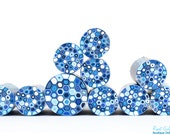 White, Sky Blue, Light Blue, Blue & Navy polymer clay round cane, raw and unbaked millefiori Dots cane by Ronit Golan - The Delft Collection