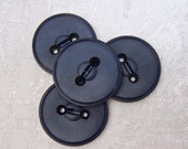 Navy Blue Buttons 35mm - 1 3/8 inch VTG Dark Blue Sewing Buttons - 4 NOS Vintage Satin Matte Midnight Blue Sew Through Buttons PL281