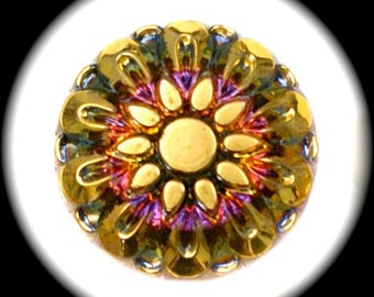 4 Czech Glass Buttons on SALE, 27mm 1-1/16 inch - Gold Sun Flower / Sunflower on Purple Iridescent Aurora Sunset - CLEARANCE