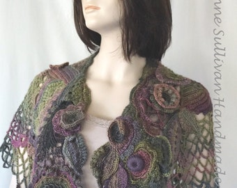Free Form Crocheted Capelet, Multi Colored Crocheted Cape, One-of-a-Kind, Hand Crocheted Cape, Freeform Crocheted Cape