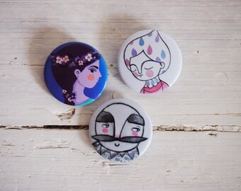 Brooches SET, 3 illustrated pin portraits