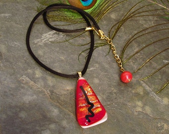 Red Dichroic Glass Choker ~ Statement Necklace with Black Satin Cord ~ adjustable 14-16 inches