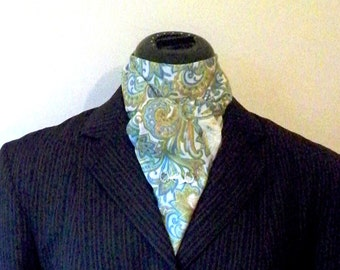 Stock Tie, Equestrian Clothing, Light Paisley Cotton, Straight Two Fold, Fox Hunting