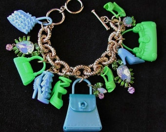 Fun, Flirty & Fabulous Earth and Sky, Barbie Doll Handbags and Shoes Charm Bracelet.