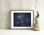 1903 Wright Flyer Blueprints art print, bi-plane blueprint, airplane decor, aviation art, historical aircraft, boys room, husband gift