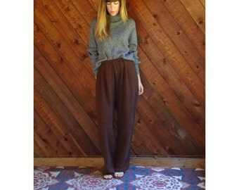 Marled Brown Knit Lounge Pants - Vintage 80s - M/L