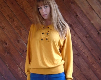 Gold Knit Slouchy Button Front Pullover Sweater - Vintage 80s 90s - MEDIUM M