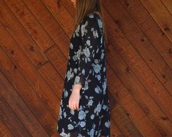 Navy Floral Sheer Chiffon Mini Dress - Vintage 90s - MEDIUM