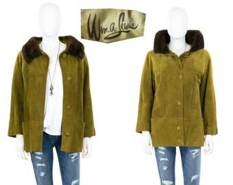 Vintage 1950s Jacket Olive Leather Mink Fur Swing Coat Size Medium
