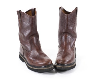 WOLVERINE Boots Vintage Work Boots Brown Leather Boots Mens Size 9 / Womens Size 10.5