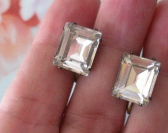 "Vintage STERLING Silver ""Emerald Cut"" Sparkling Clear RHINESTONE Screw Back Earrings Estate Jewelry 12mm x 10mm"