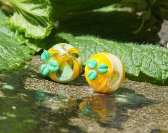 Yellow and green sparkle handmade lampwork glass silver ear studs