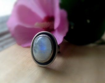 rainbow moonstone ring, sterling silver statement ring, white with blue flash, high dome stone ring, cocktail ring, size 7.75, ready to ship