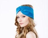 Turquoise Headband Suede Leather Turban Twist Headband Women Spring Accessory Boho Chic Style Bohemian Soft Leather Hat Blue Turban Hat