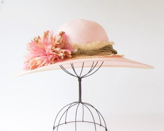 Wide Brimmed Straw Hat Kentucky Derby Hat Spring Fashion Spring Accessories Wedding Hat 1920s Hat Pink Straw Hat Twenties Style Picture Hat