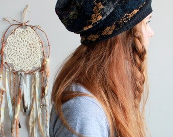 Chenille Striped Earth Tones Pattern Recycled Sweater Slouchy Tam Hat Beanie By MountainGirlClothing