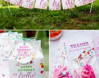 Confetti Birthday PRINTABLE Party Collection - You Customize EDITABLE TEXT >> Instant Download << Paper and Cake
