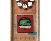 """Assemblage Art Box Wall Hanging """"Delivery"""" Floral Van"""