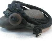 black multi wrap bracelet of handmade rope with boulder button rope bracelet button bracelet 3876