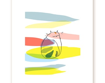 Kiki Bliss Print - Cat Art - Rainbow - Cat Lover