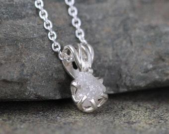 Raw Diamond Pendant - 0.50 carat Diamond Necklace - Uncut Rough Diamond - Sterling Silver - April Birthstone - Jewelery Made in Canada -