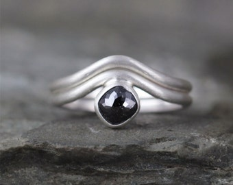 Black Rose Cut Diamond Engagement Ring & Wedding Band - Sterling Silver Modern Jewellery - Rose Cut Diamond Rings - Wedding Ring Sets