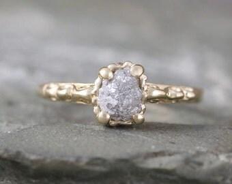 14K Yellow Gold Raw Diamond Engagement Ring -Filigree Ring - Antique Styled Engagement Ring - April Birthstone -Uncut Rough Raw Gemstone