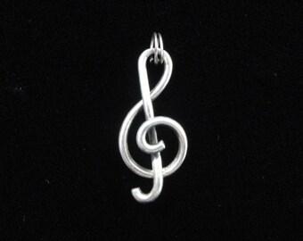 Treble Clef Charm, Music Charm, Vintage Sterling Silver Charm, 3D Treble Clef Pendant, Large Charm, Musician Charm Bracelet, Unisex Men's