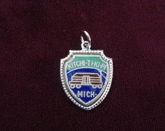 Kitchi-Ti-Ki-Pi Michigan Charm- The Big Spring- Vintage Travel Shield Enamel Sterling Silver Pendant - Michigan Souvenir- Fort Charm
