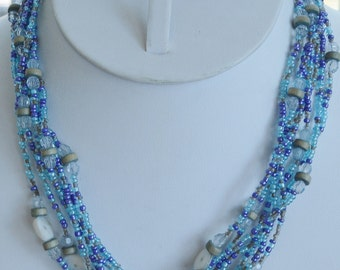 Pretty Vintage Blue, Purple Glass Seed Bead, Mother of Pearl, Wood Beaded Multi-Stand Necklace, Adjustable (AH3)