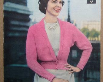 "Vintage 1940s 1950s Knitting Pattern Women's Cardigan lacy edging 40s 50s original colour pattern Lavenda No. 342 UK M Medium 34"" - 36"""