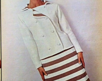Vintage Knitting Patterns Booklet 1960s New Style Elegance Woman's Own 1966 Vintage Women's Fashions Dress Sweaters Courreges Inspired Suit