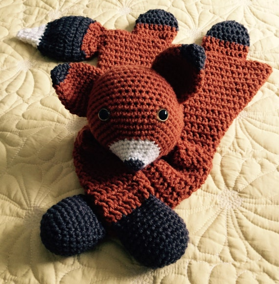 Orange, dark gray and white Fox Rag Doll Toy/Lovey