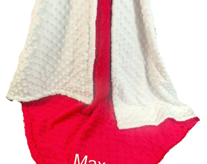 Personalized Red White Minky Dot Baby Blanket