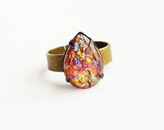 Red Fire Opal Ring Vintage Glass Dragons Breath Harlequin Opal Stone Adjustable Brass Mexican Opal Ring