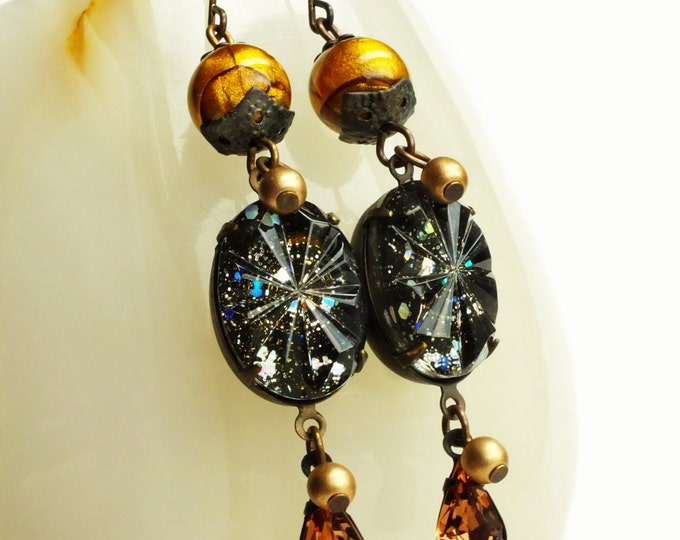 Cosmic Earrings Glitter Nail Polish Jewelry Vintage Glass Gold Galaxy Space Nebula Statement Jewelry