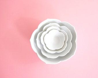 Vintage Set of Four Nesting White Lotus Bowls / Mid Century Porcelain Flower Bowls