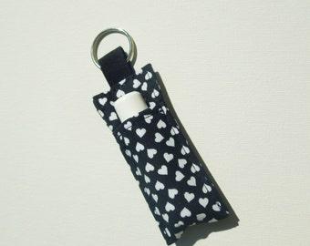 Chapstick Keychain,Lip Balm Key chain,Chapstick Holder,keychain,Lipbalm cover pouch,lipstick pouch Keychain -  White heart on black