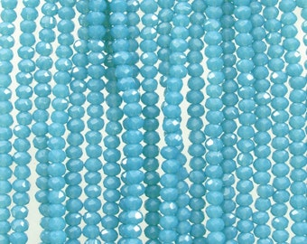 3.5x2.5mm Faceted Pacific Opal Chinese Crystal Rondelle Beads 7 Inch Strand (35CCS9)