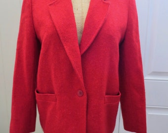 Strawberry Red Pendleton Wool Blazer - 36 in. bust/chest