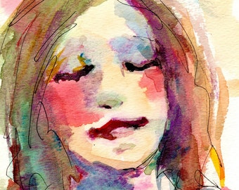 "Brightly Colored Watercolor Portrait - ""March"" - 6"" x 9"" on Watercolor Paper"