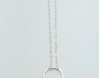 Fine Silver Circle Necklace , Silver Circle Necklace - Circle Necklace - Fine Silver Pendant , Layering Necklace , NCH201