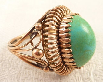 Size 5 Antique Victorian Openwork 14K Gold Large Oval Turquoise Ring