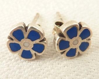 Vintage Sterling and Blue Enamel Inlay Flower Stud Earrings