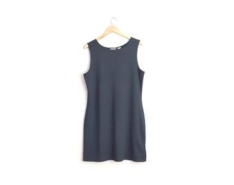 Size L // NYLON TANK DRESS // Black - Sleeveless - Stretchy - Vintage '90s - Minimalist - Everyday Basic.