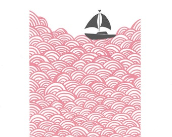 "Fine Art Print ""Bigger Boat"" (Rose Quartz and Grey) A3 size - FREE Worldwide Shipping"