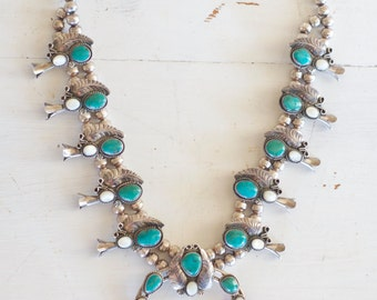 Vintage Squash Blossom Naja Necklace / turquoise Navajo Statement necklace / Native American / Festival fashion / old pawn