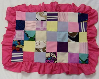 Vintage Pillow Cover, Pink Patchwork Pillow, Pillow with a Ruffle, Patchwork Pillow, 70's Patchwork Pillow Corver/ Duvet